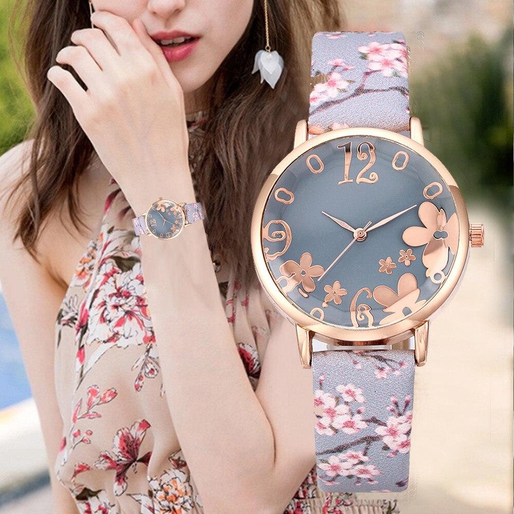 Luxus Uhr Frauen Mode Geprägte Blumen Kleine Frische Gedruckt Gürtel Zifferblatt Uhr Weibliche Schüler Quarzuhr Relogio Feminino