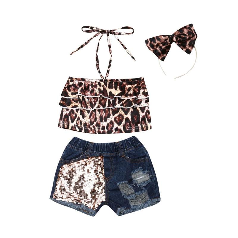 Conjunto de ropa para niñas y bebés, conjunto de leopardo para bebés, 3 piezas, Top corto con volantes, pantalones cortos de mezclilla con lentejuelas y diadema los niños de verano conjunto