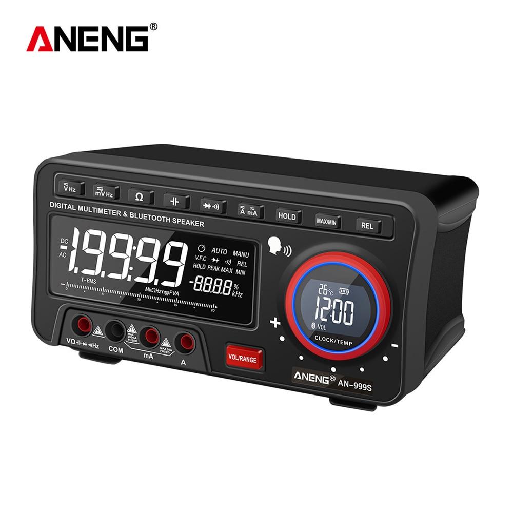 Medidor de Corrente Aneng Bluetooth Áudio Digital Multímetro Automático 19999 Contagem Display Lcd Ohm Tensão Voltímetro Preto Tester An999s