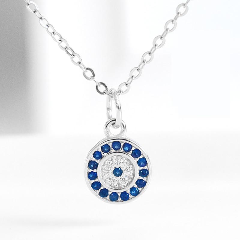 Collar de ojo de demonio de plata de ley S925, collar hipster con cadena de clavícula de Ojo Azul para mujer