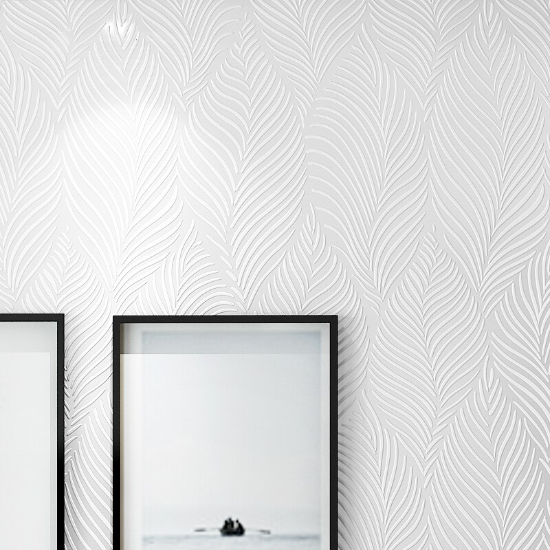 Современная стильная Белая настенная бумага с перьями, 3d тиснение, однотонная настенная бумага s, Нетканая настенная бумага s, скандинавский...