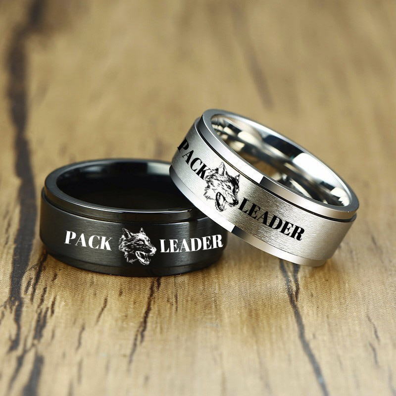 Anillo SPINNER personalizado para hombres 8MM alianza de boda de acero inoxidable en negro