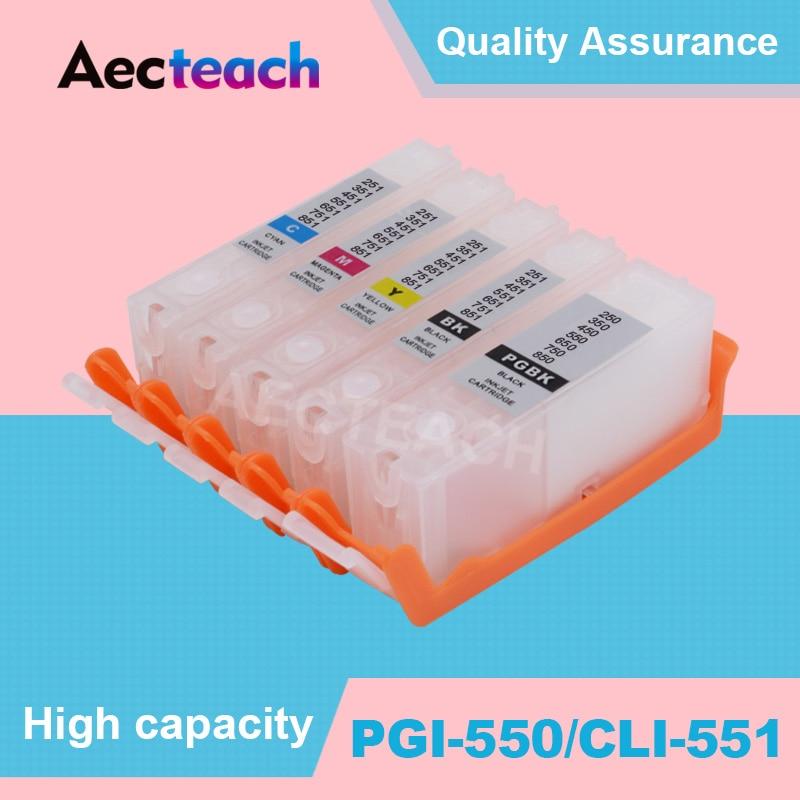 Cartucho de tinta vacio Aecteach 5 colores para Canon PGI 550 CRI 551 para Canon PIXMA MG5450 MG5550 MG5650 MG6350 MG6450 MG6650 impresora