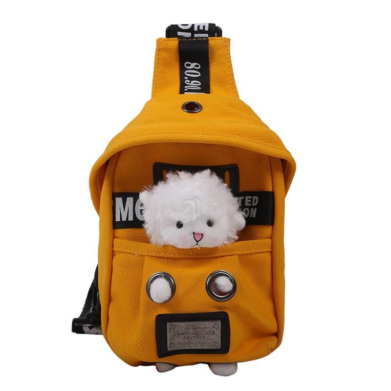 Lamb Canvas Bra Crossbody Bags Tide Ins Joker Cartoon Cute Small Backpack Autumn Satchels Winter Messenger Purses And Handbags