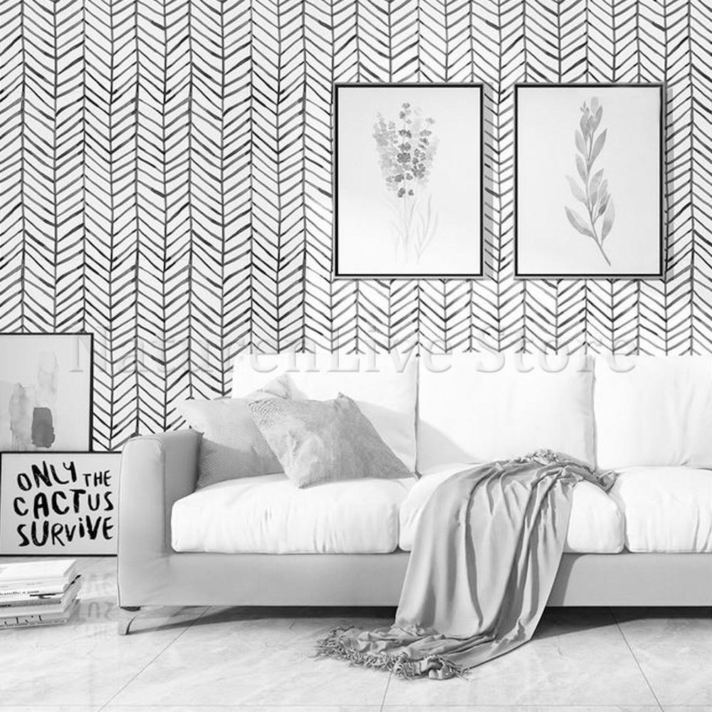 Thicken Nordic Self-adhesive herringbone Wallpaper Fishbone Line Geometric Pattern Sticker Living Room Entrance Walls Stickers