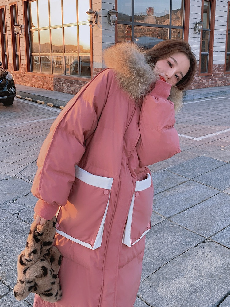 Down Cotton Padded Jacket Female 2021 New Winter Middle and Long Korean Version Loose Over Knee Thickened Cotton Padded Jacket