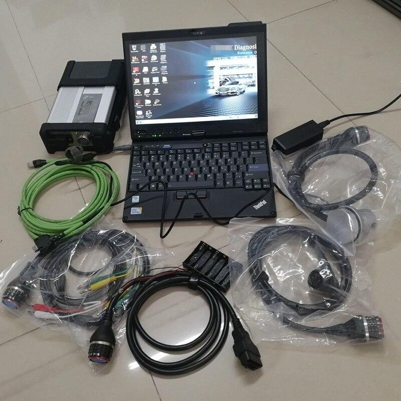 MB star C5 SD Compact C5 avec le dernier logiciel V12.2020 HHTwin en 320GB HDD et ordinateur portable utilisé X200t tablette 4G Win7