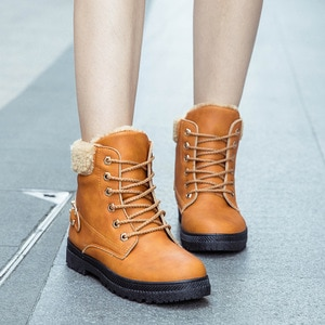 Women Snow Boots Winter Warm Shoes Woman Ankle Riding Motorcycle Boots Ladies Plus Size Shoes Plush Non-slip Casual Booties