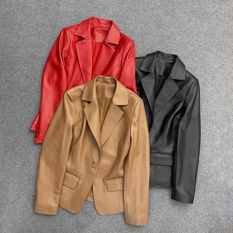 Autumn Spring Black Brown Red Coat Sheepskin Genuine Leather Suit Jackets Women Loose Overcoat Jacket Coats Office Outerwear