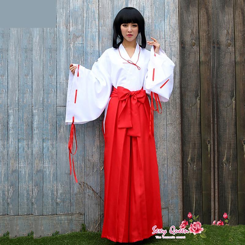 Disfraz para Festival Higurashi Kagome Kikyo Sesshoumaru, para fiesta de Halloween, Anime Inuyasha, Cosplay, trajes rojo, Kimono japonés