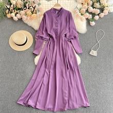 Yitimoky High Waist Dresses Women Breasted Lantern Sleeve O-Neck Red Purple A-Line Clothes 2021 Spri