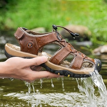 2021 New Men Sandals Genuine Leather Casual Shoes Summer Fashion Men Hiking Sport Sandals Outdoor Be