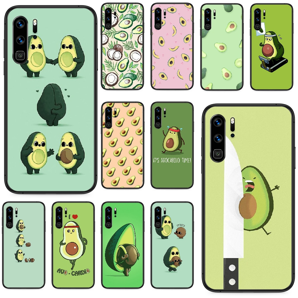 Funda de teléfono bonita a la moda estética de aguacate verde para Huawei P 9 Smart 10 20 30 40 8 Lite Mini Z 2019 Pro black Etui luxury prime