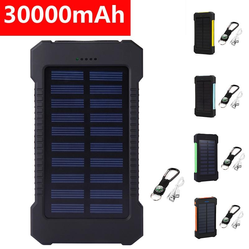 30000mAh Solar Power Bank For iPhonePowerbank Dual USB Solar Charger Portable External Battery Pack Power Bank