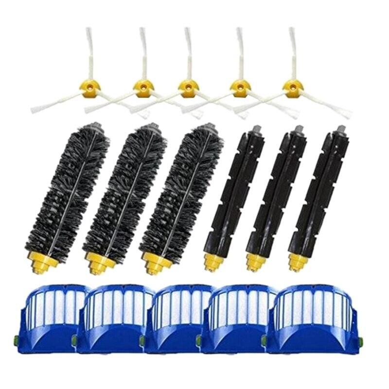 Brosse latérale 3 Armées + Filtre + Brosse De Rechange pour Irobot Roomba 500 600 Série 550 595 610 620 630 650 670 Aspirateur Robot Clea