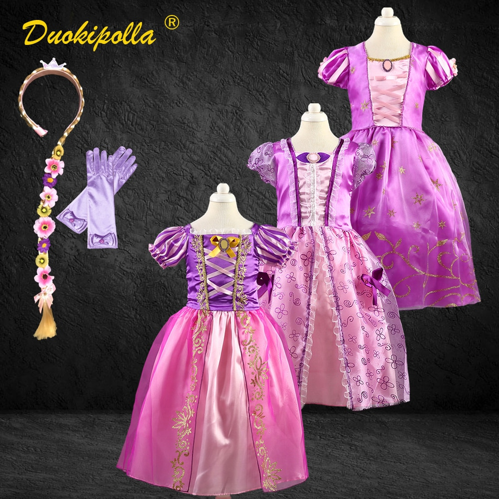 Christmas Halloween Costume Child Rapunzel Dress Birthday Party Fairy Sofia Frock for Girls Rapunzel