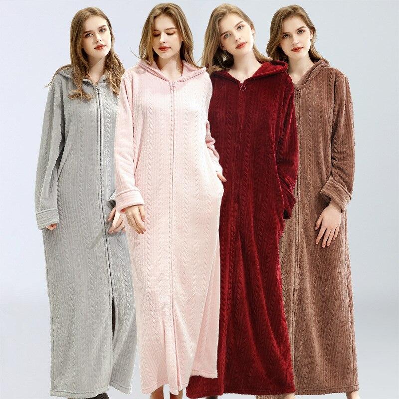 2020 pijamas de franela gruesa y cálida de invierno para mujer, Vestido largo de baño, camisón, lencería de baño para mujer, ropa de dormir de rayas con capucha, ropa de casa