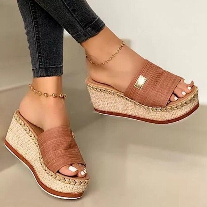 Plataforma de Salto Verão Cunhas Chinelos Alto Feminino Chinelo Senhoras Fora Sapatos Basic Clog Cunha Flip Flop Sandálias