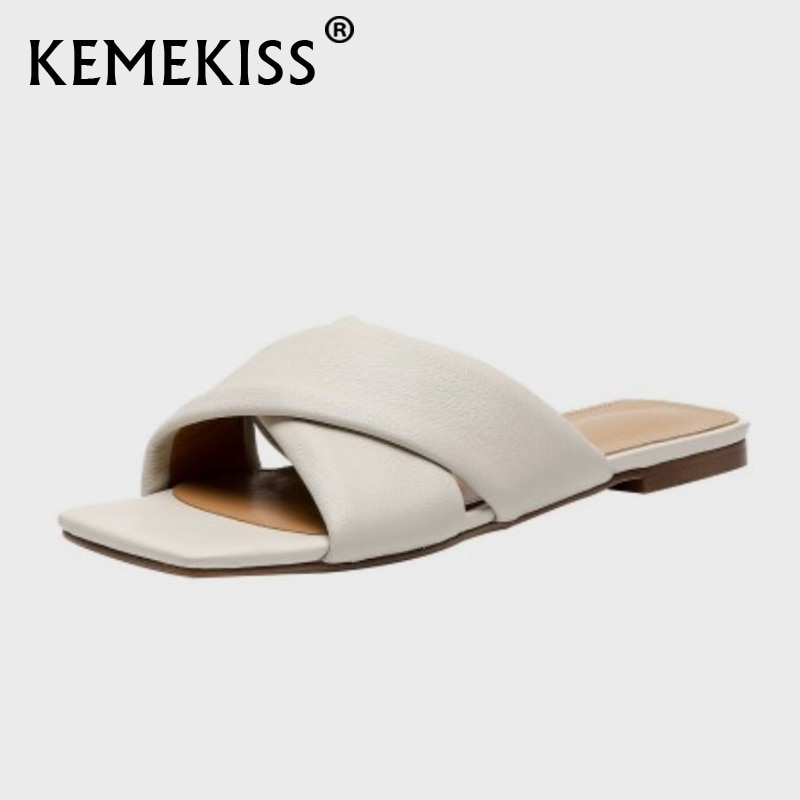 KemeKiss-صندل نسائي مسطح بمقدمة مربعة ، حذاء صيفي عصري ، غير رسمي ، للإجازات اليومية ، مقاس 34-42
