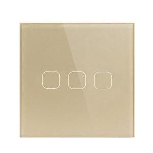 LED light Touch Switch 220V Sensor Wall lamp Switch EU Standard 1/2/3 Gang Tempered Glass Panel Smart Switch Waterproof no RF433