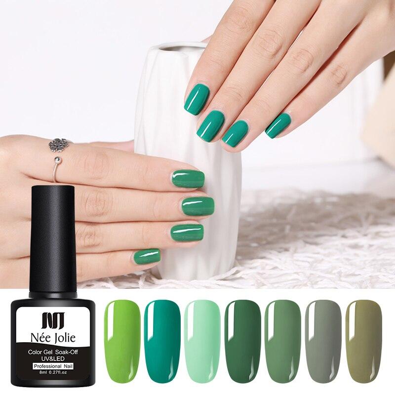 NEE JOLIE 8ml Green Color Series Color UV Gel Polish 9 Colors Soak Off Gel Varnish One-shot Color Nail Art Gel