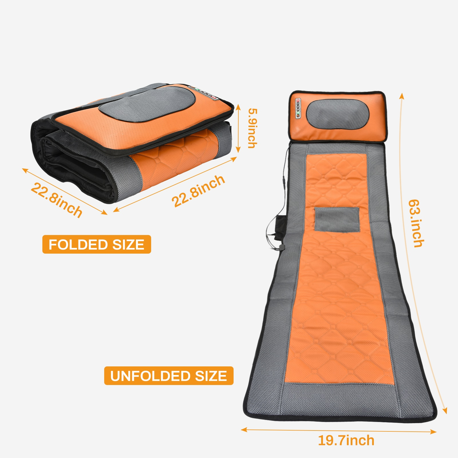 Collapsible Full-body Massage Mattress Automatic Heating Multifunction Far Infrared Vibration Massager Cushion + Remote Control enlarge