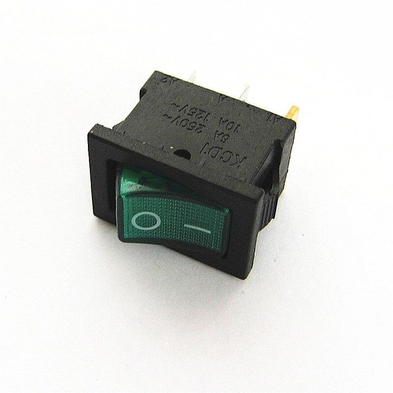 10PCS Ship Type Switch 15*21mm 3PIN ON/OFF Rocker Switch 6A/250V 10A/125V 15X21 With Green Light hot sale10pcs 3 pin spst neon light on off rocker switch ac 250v 10a 125v 15a