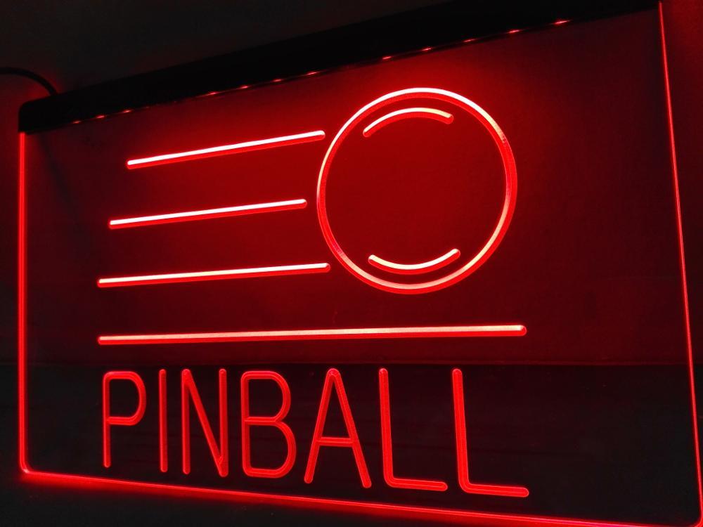 S078 Pinball sala de juegos Bar cerveza Led letrero luminoso