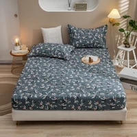 floral prints mattress cotton fitted sheet cover four corners with elastic band bed sheet mattress protector no pillowcases