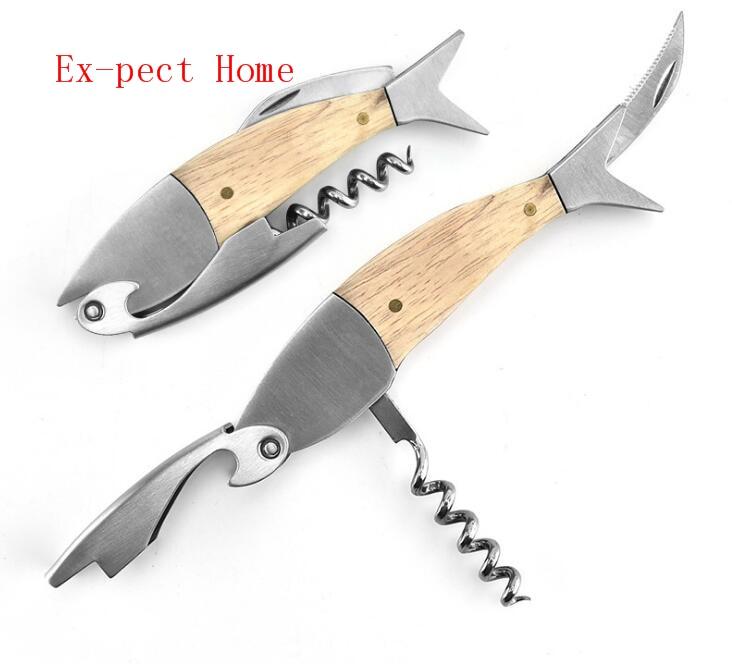 50pcs Professional Stainless Steel Wooden Fish Bones Wine Opener Bottle Corkscrew Opener Premium Corkscrew For Wine
