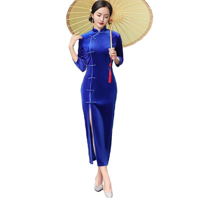 Chinese Traditional Velvet Qipao Dress Women Sexy Long Cheongsam Evening Party Gown Size M L XL 2XL 3XL 4XL 5XL