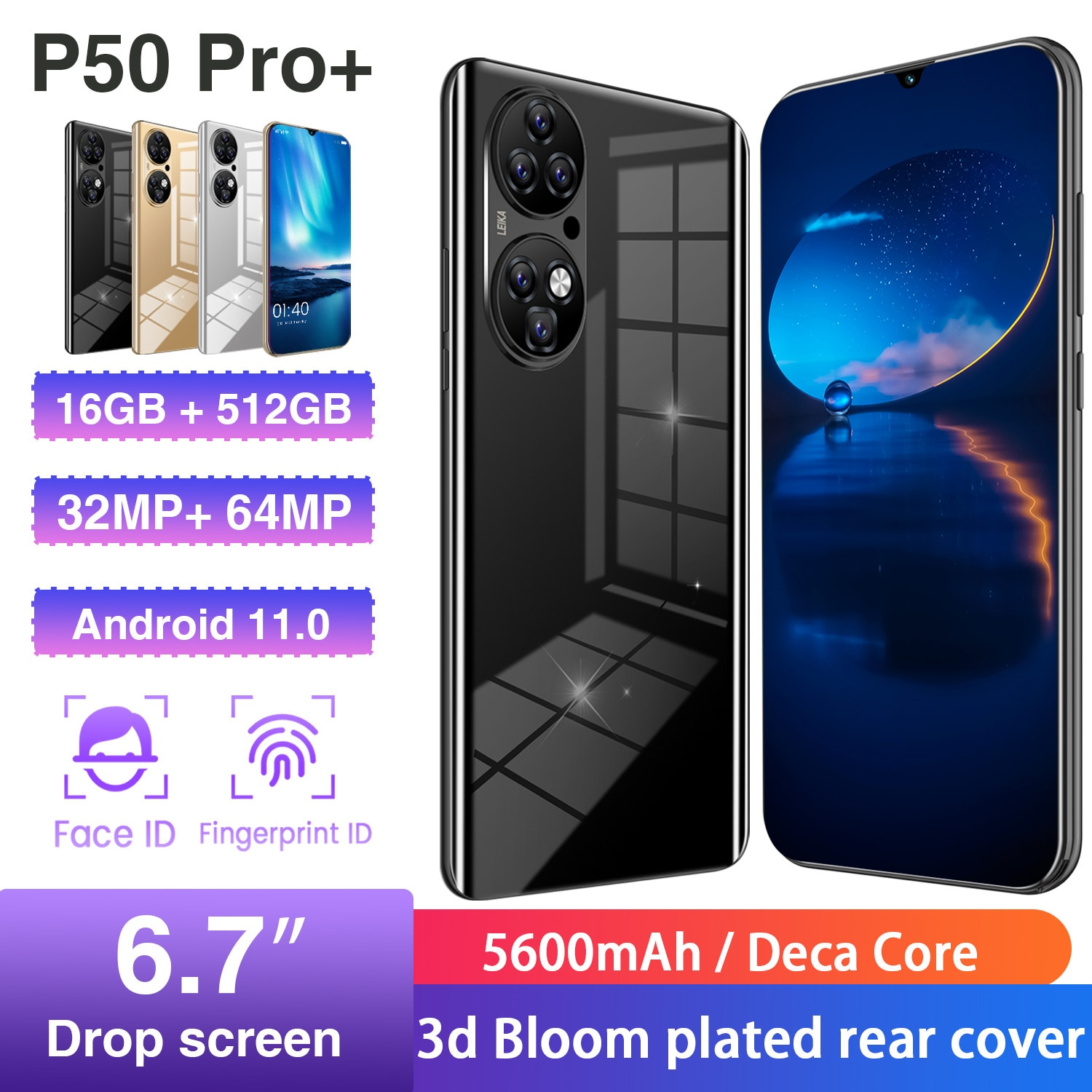 (World Premiere) P50 Pro+Huawei Smartphone 16GB+512GB, Global Version 5G Network Is Suitable for Huawei, Xiaomi, Samsung,iphone