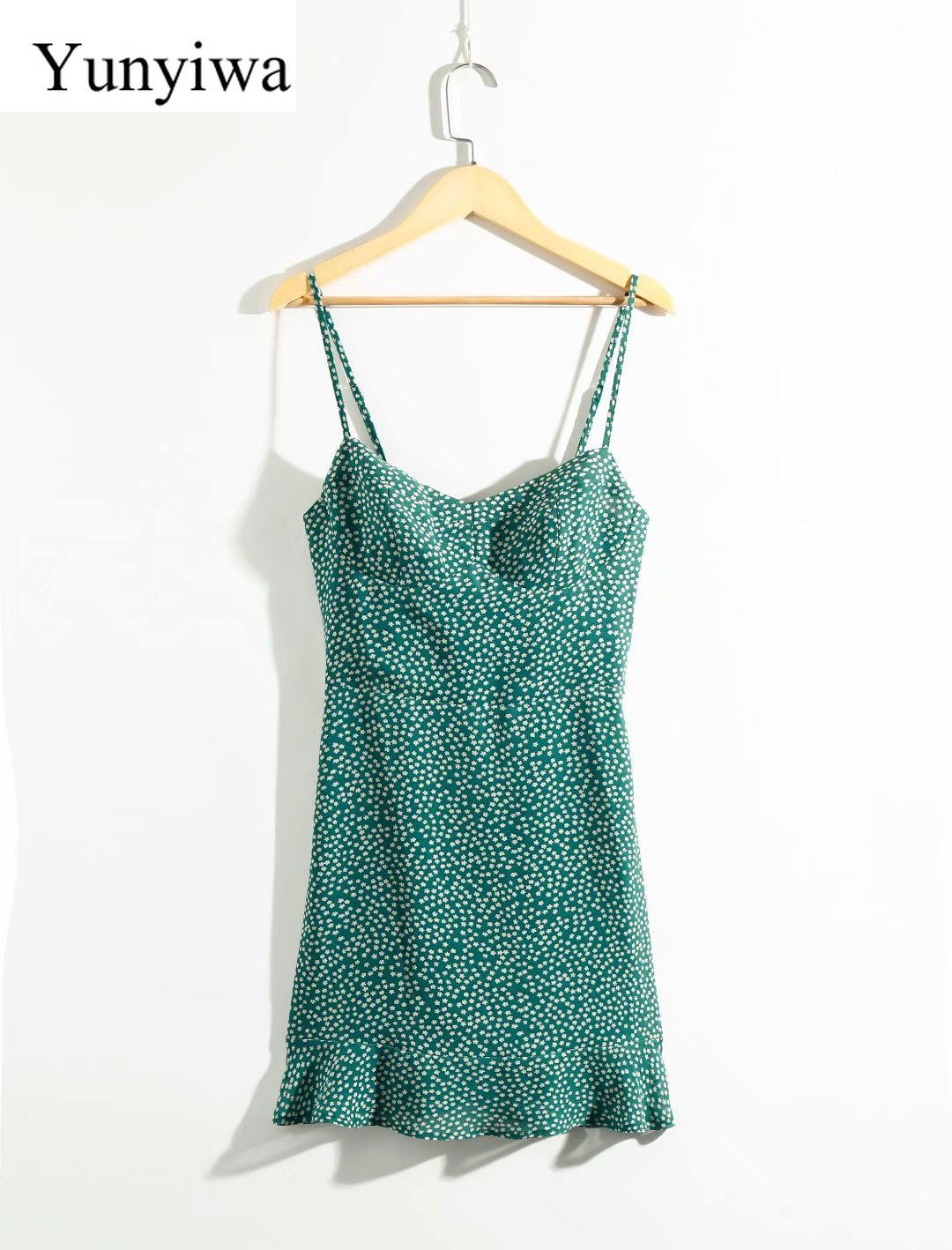 Vestido de tirantes con estampado verde Falda corta Sexy para mujer Vestidos elegantes de verano