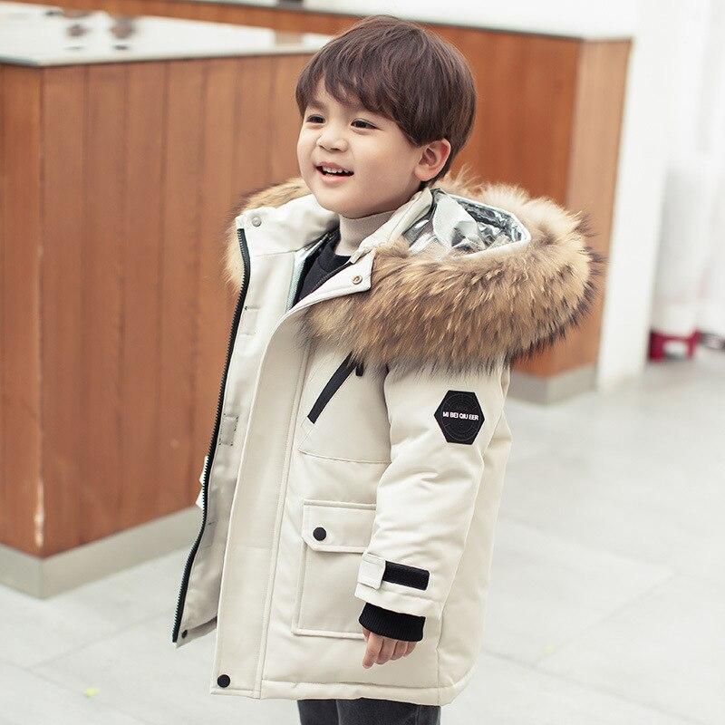 الأطفال سترة شتوية الأولاد ملابس الأبيض بطة أسفل سميكة معطف مقنع دافئ أطفال سترة الفراء الحقيقي الفتيات ملابس الطفل سنوسويت