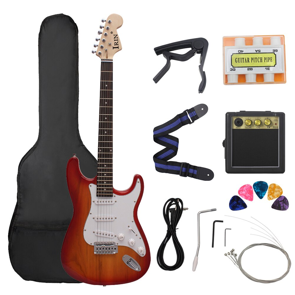 39 Inch ST Electric Guitar 21 Frets 6 Strings Basswood Body Maple Neck Guitar With Speaker Necessary Guitar Parts & Accessories