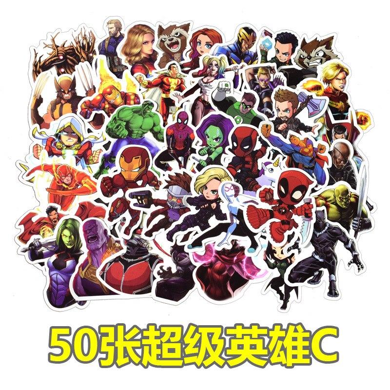 pegatinas-de-equipaje-50-de-disney-marvel-superheroes-no-repetitivos-impermeables-grafiti-dibujos-animados-coche