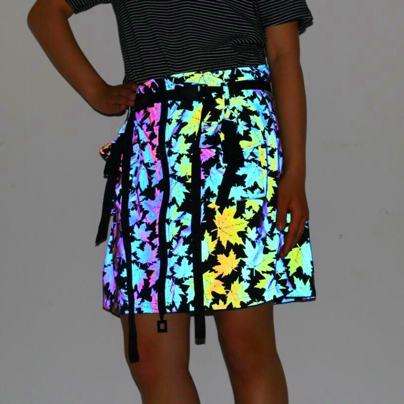 Women Maple Leaves colorful reflective hip hop punk skirt zipper ribbon belt design woman korean style fashion skirts