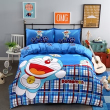 Home Textile Blue Plaid Doraemon Printed Bedding Set Children Bed Linen Include Duvet Cover Bed Sheet Pillow Case Free Shipping