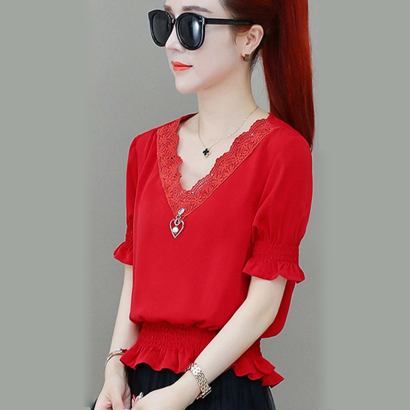 New Spring Summer Chiffon Blouses Shirt Casual Short Sleeve Elegant Solid V-Neck Ruffles Loose Womens Tops
