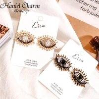 2021 europe design vintage eye shape stud earrings for women fashion personality rhinestone oorbellen femme trendy ear jewelry