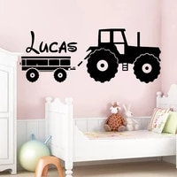 tractor wall sticker custom name boys kids room decoration forklift decal babys bedroom removable decor art mural toy car