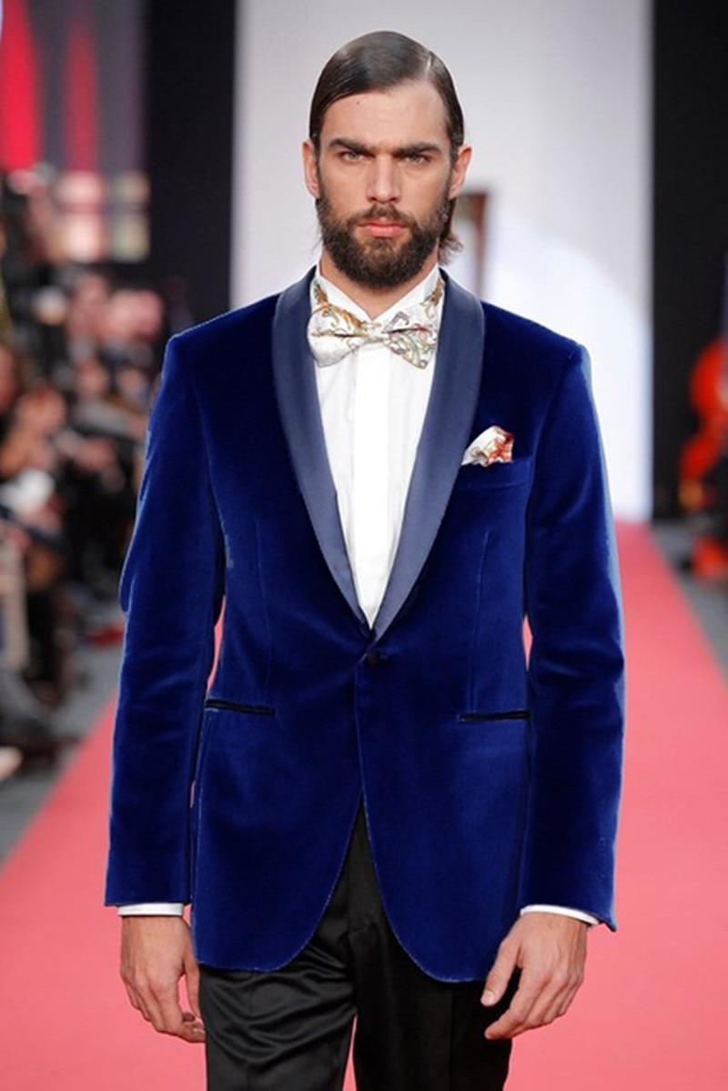 Handsome Velveteen Groomsmen Shawl Lapel Groom Tuxedos  Men Suits Wedding/Prom/Dinner Best Blazer(Jacket+Pants+Tie) 061