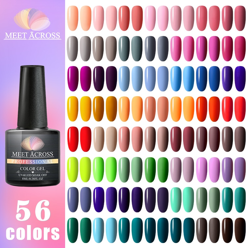 MEET ACROSS Base Gel Top Coat матовый топ Гель-лак для ногтей Гель-лак отмачиваемый 8 мл Маникюр оптовая продажа долговечный цветной гель для ногтей недорого