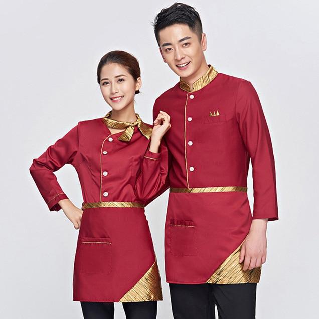 Camarera disfraz chino uniforme de camarera uniformes de camarera de restaurante hotel uniforme de camarera