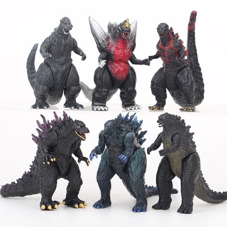 6pcs/set BANDAI 8cm Q New Godzilla Red Lotus Godzilla Kong Kim Battle Dinosaurs PVC Kids Gift Action Figure Collection Model Toy