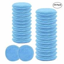 24 шт. 5 дюймов Автомобильная восковая губка синий круглый аппликатор Легкая очистка кожи Полировочная подушка из пены микрофибра универсальная моющаяся многоразовая