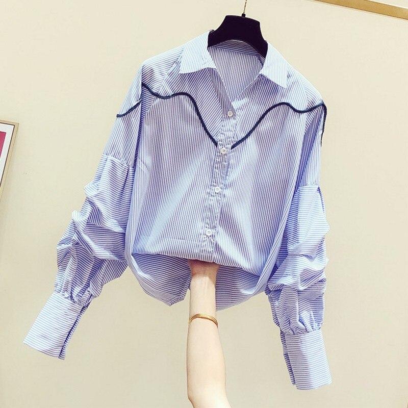 Женская однобортная рубашка в полоску, офисная блузка в полоску с отложным воротником и рукавами-фонариками, корейский стиль, весна 2021 блузка в полоску
