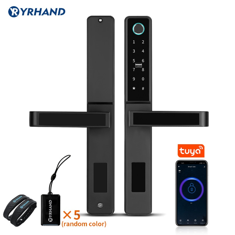 Tuya WiFi App Smart Door Lock  Aluminum Biometric lock fingerprint door handle Digital Keyless lock for Glass Sliding or Wooden smart fingerprint lock for for glass door keyless usb rechargeable electric fingerprint door lock for double door biometric lock