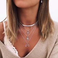 bohemia wind women necklace moon geometric peandant snake chain multilayer long necklaces aesthetic jewelry collares
