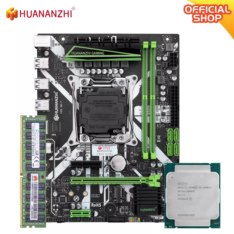 HUANANZHI X99 8 متر F X99 اللوحة الأم مع إنتل سيون E5 2690 V3 مع 1*16 جرام DDR4 RECC الذاكرة كومبو عدة مجموعة NVME USB3.0 الخادم